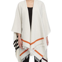 Rag & Bone Ines Stripe-Border Cape, Cream