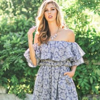 Erin Denim Off the Shoulder Floral Dress