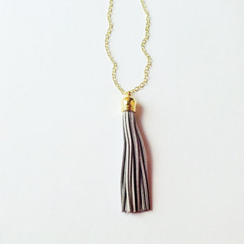 Tassel necklace, gray tassel necklace, tassel jewelry, colorful jewelry, gray necklace, layering necklace, statement necklace
