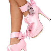 5 Lockable Pansybow Shoes [ftw-lockpansybow] - £76.85 : The Fantasy Store, Sexy Fantasywear!
