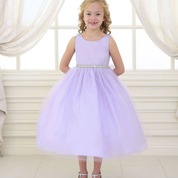 Lilac Satin and Tulle Flower Girl Dress