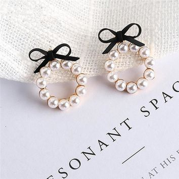 Earrings Woman Fashion 2018 Summer New Imitation Pearl  Earrings For Women Geometric Round Cute Bow  Pearl Jewelry G3Kawaii Pokemon go  AT_89_9