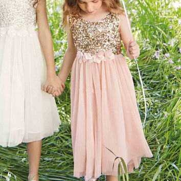 2016 Blush Flower Girls Dresses Gold Sequins Hand Made Flower Sash Tea Length Tulle Jewel A Line Junior Bridesmaid Dress
