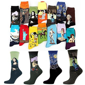 Sale 19 Patterns Cotton Socks Famous Painting Printed Character Harajuku Design Women Men Art Socks Clothing Accessories