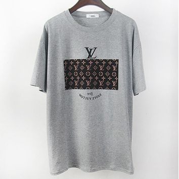 LV Louis Vuitton Fashion New Summer Monogram Print Women Men Top T-Shirt Gray
