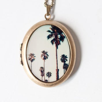 California Love Photo Locket- Palm Trees, California, Photo Locket Necklace, Large Locket, Grande Oval Locket