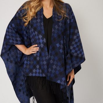 Warm Diamond Patch Design Knitted Poncho