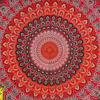 Multicolor Peacock Mandala Tapestry Indian Peacock Wall Hanging Bohemian Queen Bedspread Hippy Throw Bedsheet Hippie Wall Decor College Dorm