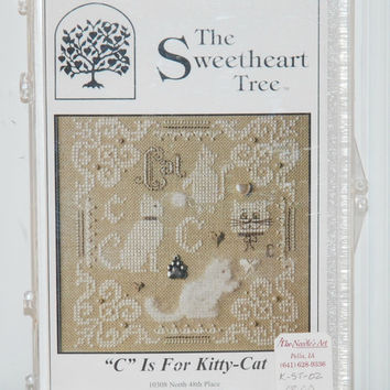 "The Sweetheart Tree ""C"" Is For Kitty-Cat (c. 2006) Petite Cross Stitch, Cat Collectible, Craft Project, Gift Idea, Petite Pillow"