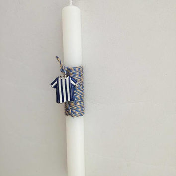 Football Easter candle, Iraklis team candle, boys Greek Easter candle with Iraklis colours jersey, λαμπάδα ποδοσφαιρική Ηρακλής