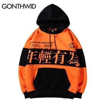 GONTHWID Color Block Letter Printed Pullover Fleece Hoodies Sweatshirts Men 2018 Fashion Harajuku Hip Hop Casual Streetwear Male
