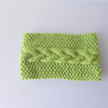 Wide Headband. Green Headwrap. Cable knit Headband. Green Cowl. Knit  Neckwarmer. Earwarmer headband. Ski, Snowboarding, Hiking.