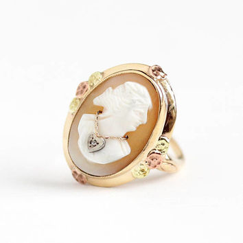 Vintage 10k Rosy Yellow Gold Diamond Cameo Ring - Art Deco Flower Size 6 3/4 Habillé Necklace Carved Oval Shell 1940s Statement Fine Jewelry