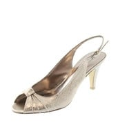 Bandolino Womens All My Love Embossed Open-Toe Slingback Heels