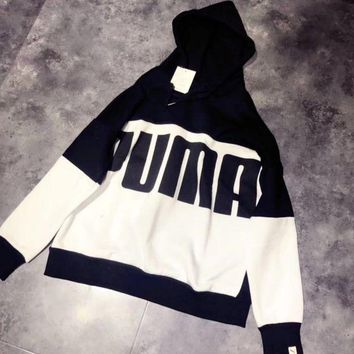 DCCKN6V Puma Fashion Casual Long Sleeve Splicing Print Hoodie Sweater