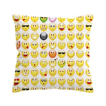 BeddingOutlet Emoji Cushion Cover  Pillow Case for Kids Throw Cover Smiley Faces Decorative Pillow Cover