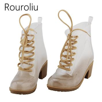 new fashion women high heels transparent pvc rain boots lace up clear rainboots water  number 1