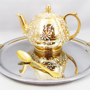 Sadler Gold Teapot with White Petal Design, Marked 2645 and Sadler England