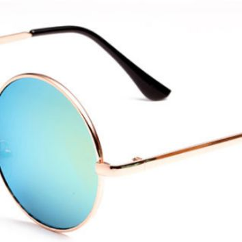 Designer Fashion Retro Vintage Stylish Round Women Gold Sunglasses