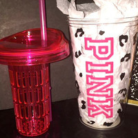 Custom VS PINK Victoria Secret Fruit Infuser Leopard Cup