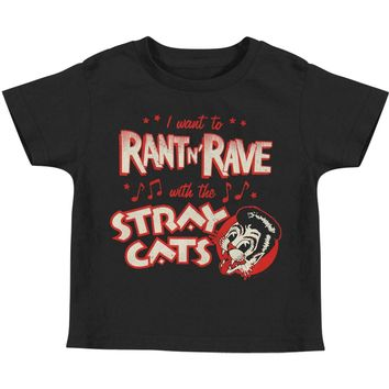 Stray Cats Boys' Rant N' Rave Childrens T-shirt Black