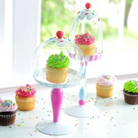 Glass Domed Pedestal Cupcake Stands - Set of 2