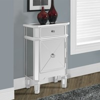 Satin White / Mirrored 1 Drawer Accent Cabinet
