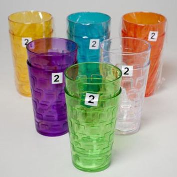 Tumblers Glass-Look 6 Colors 2Pk 18Oz - CASE OF 48