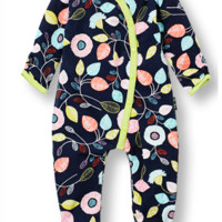 Footed DANCING LEAVES curved front jumpsuit