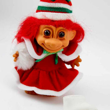 Vintage 1980s RUSS Christmas Troll Doll Red Suit Red Hair Gift Toy Home Holiday Decor Collectibles