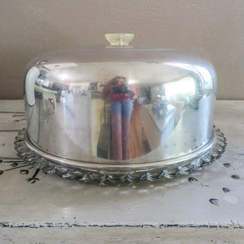 Glass Cake Plate with Lid Appetizer Plate Cake Server Vintage Kitchen Covered Cake Plate Vintage Cake Platter Covered Plate