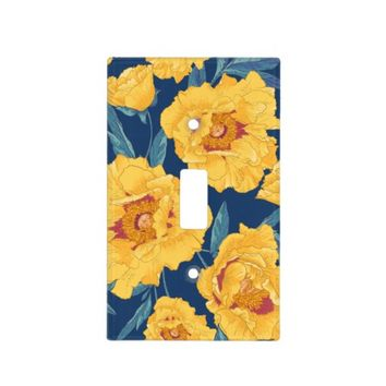 Traditional Floral Pattern with Yellow Flowers Switch Plate Cover