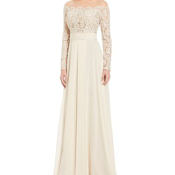 Terani Couture Illusion Off the Shoulder Gown | Dillards