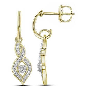 10kt Yellow Gold Womens Round Diamond Dangle Oval Earrings 1/6 Cttw