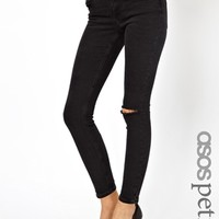 ASOS PETITE Whitby Low Rise Skinny Ankle Grazer Jeans in Washed Black with Ripped Knee