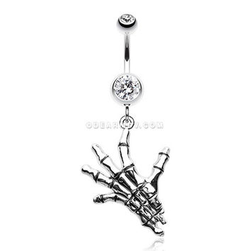 Hand of Death Skeleton Belly Button Ring (Clear)
