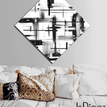 Made to order. Original abstract painting on canvas. 33 3/4x33 3/4. Geometric black and white. Canvas art. Big painting. Modern wall art