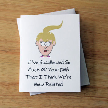 Boyfriend Gift, Naughty Card, Sexy Card, DNA Card, Oral Sex, Funny Card, Mature Card, Dirty Note Card, Card For Him, Husband Gift, Erotic