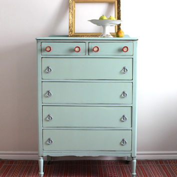 Pale Blue Tallboy Dresser - Painted with Milk Paint