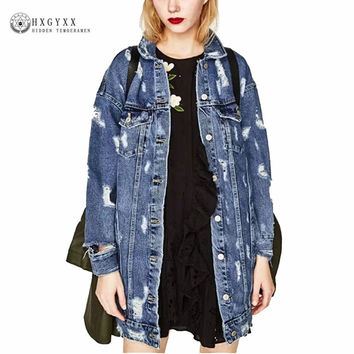 BF Sexy Big Hole Denim Jacket 2017 New Autumn Women 2 pockets Single Buttons Mid Long Chaqueta Coat Femme Jean Outerwear OK322