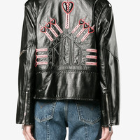 LOVE BLADE EMBROIDERED LEATHER JACKET