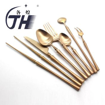 Luxury Rose Golden Cutlery Set 304 Stainless Steel Colored Dinner Knife & Fork Dinnerware Tableware Kitchen Accessories