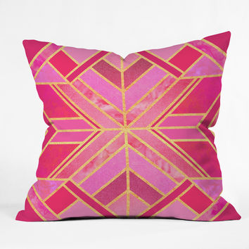 Elisabeth Fredriksson Pink Geo Star Throw Pillow
