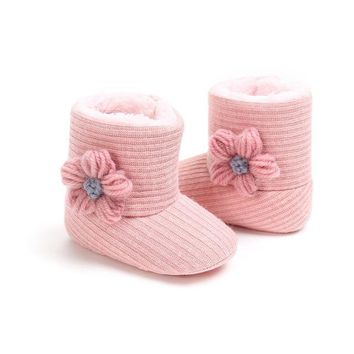 2019 New Infant Toddler Baby Girls Boots Kids Floral Winter Warm Thick Snow Boots Fur Shoes Newborn Baby Girl Cotton Shoes