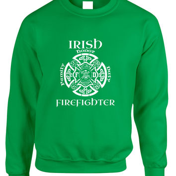 Adult Sweatshirt Irish Firefighter St Patrick's Top Irish Party
