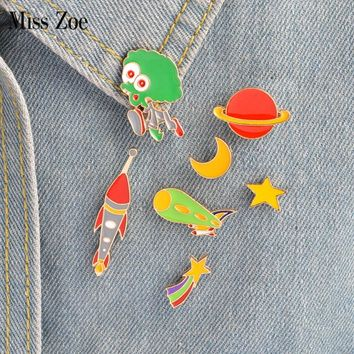 Miss Zoe 8pcs/set Star Moon Alien Telescope Spaceship Planet Brooch Button Pins Denim Jacket Pin Badge Astronomy Jewelry Gift