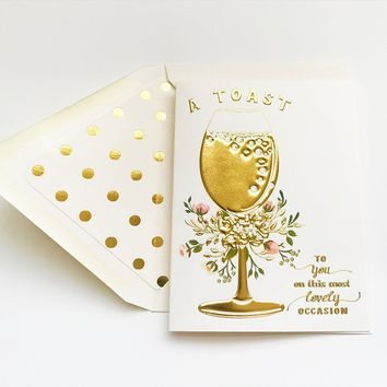 THE FIRST SNOW A TOAST TO YOU ON THIS MOST LOVELY OCCASION CARD