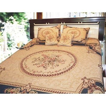 Navy Blue Elegant Victorian Soft Chenille Floral Medallion Woven Tapestry