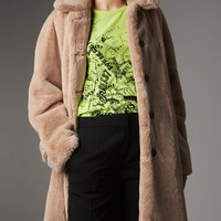 Faux Fur Single-breasted Car Coat in Nude - Women | Burberry United States