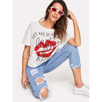 Letter And Red Lip Print Tee
